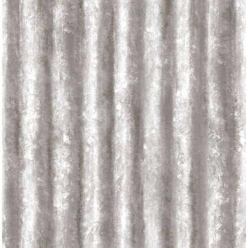 Silver Corrugated Metal Wallpaper