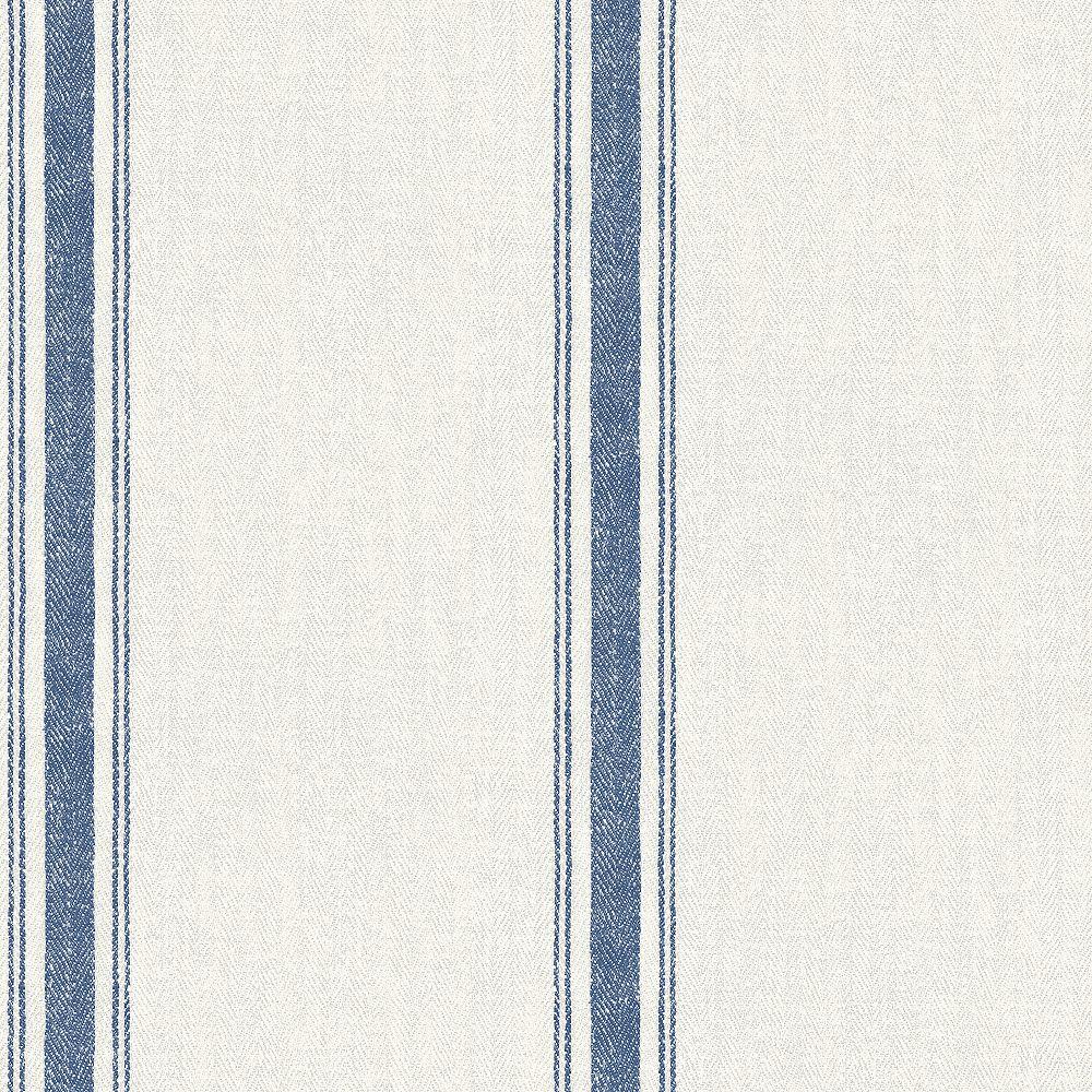 Chesapeake Linette Blue Fabric Stripe Wallpaper