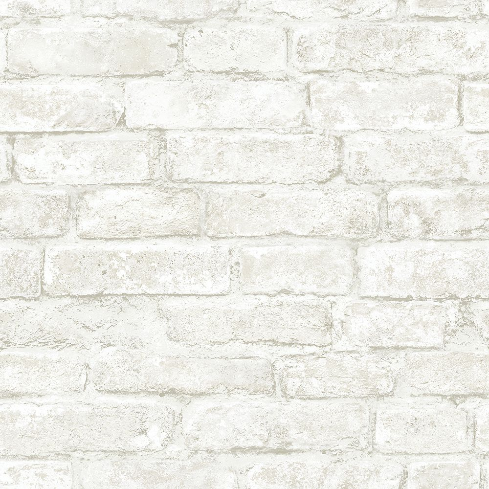 Chesapeake Arlington Off White Brick Wallpaper The Home Depot Canada