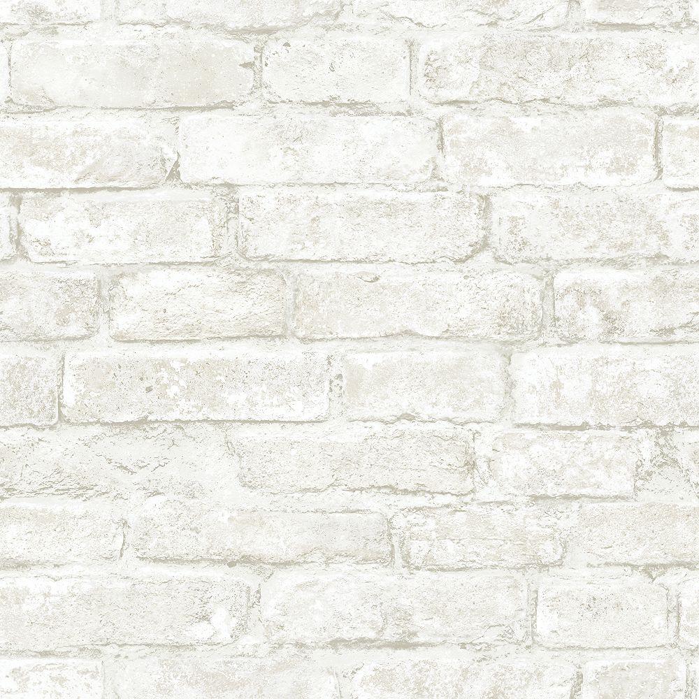 Chesapeake Arlington Off White Brick Wallpaper The Home Depot Canada