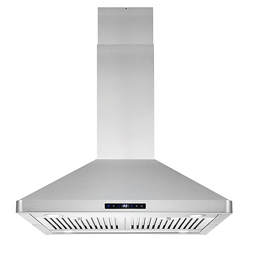 30 in. 760 CFM Ducted Island Range Hood with LED Lighting in Stainless Steel