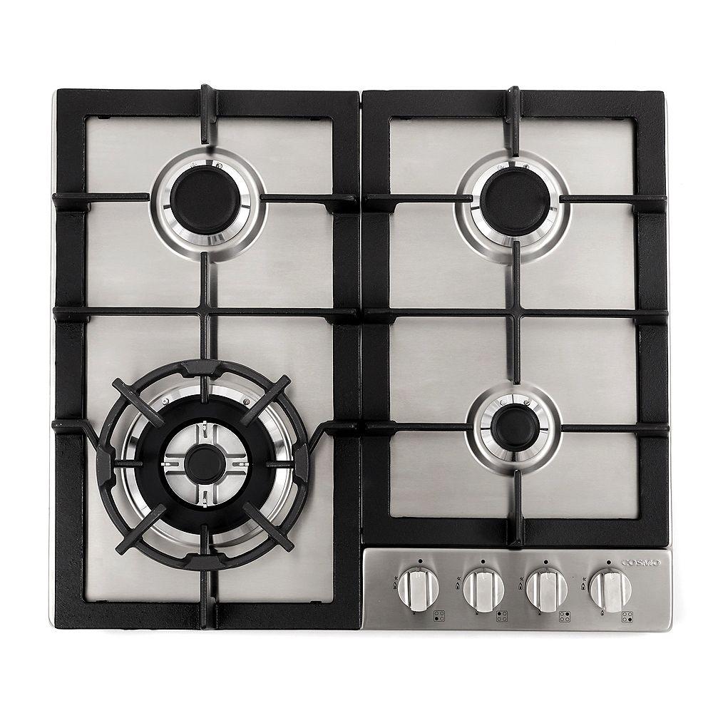 Cosmo Table de cuisson à gaz de 24 po en acier inoxydable avec 4 brûleurs scellés