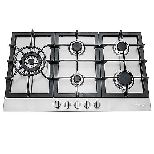 30 in. Gas Cooktop in Stainless Steel with 5 Sealed Brass Burners