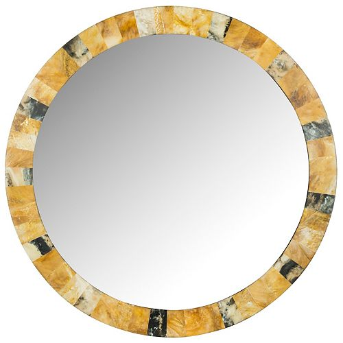 Safavieh Lydia Artisan 29 inch x 29 inch Wood and Resin Round Framed Mirror