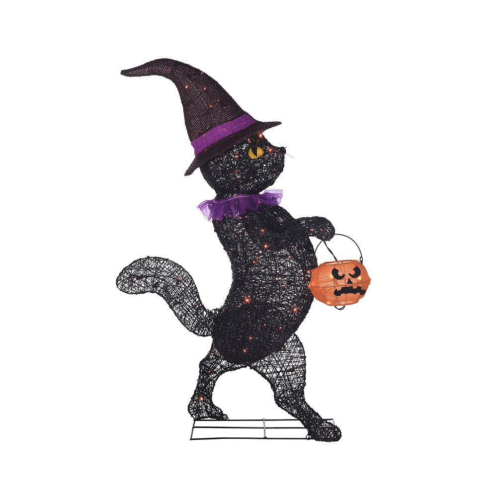 Home Accents 4 ft. LED Black Cat with Pumpkin Basket Halloween Decoration