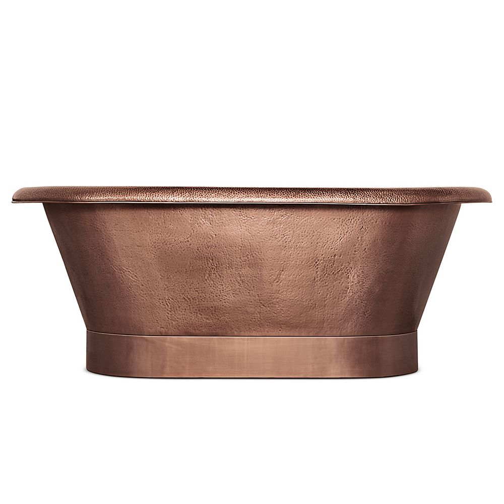 Sinkology Thales 60 in. Copper Freestanding Bathtub with Overflow 2-Hole Faucet Deck in Antique Copper