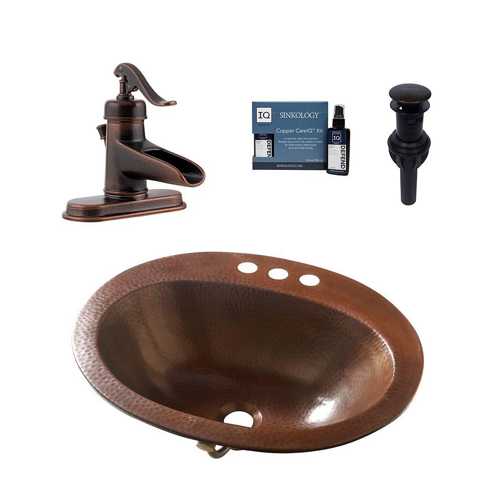 Sinkology Kit Design Seville, lavabo prêt à poser tout-en-un en cuivre, robinetterie Pfister Ashfield