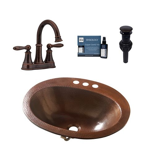 Seville All-In-One Drop-In Copper Bath Sink Design Kit with Pfister Courant Faucet and Drain