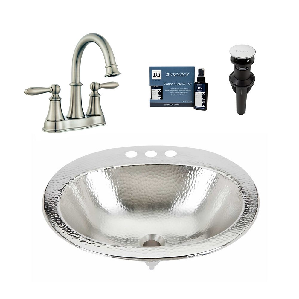 Sinkology Dalton All-in-One Drop-In Nickel Bath Sink Design Kit with Pfister Courant Faucet and Drain