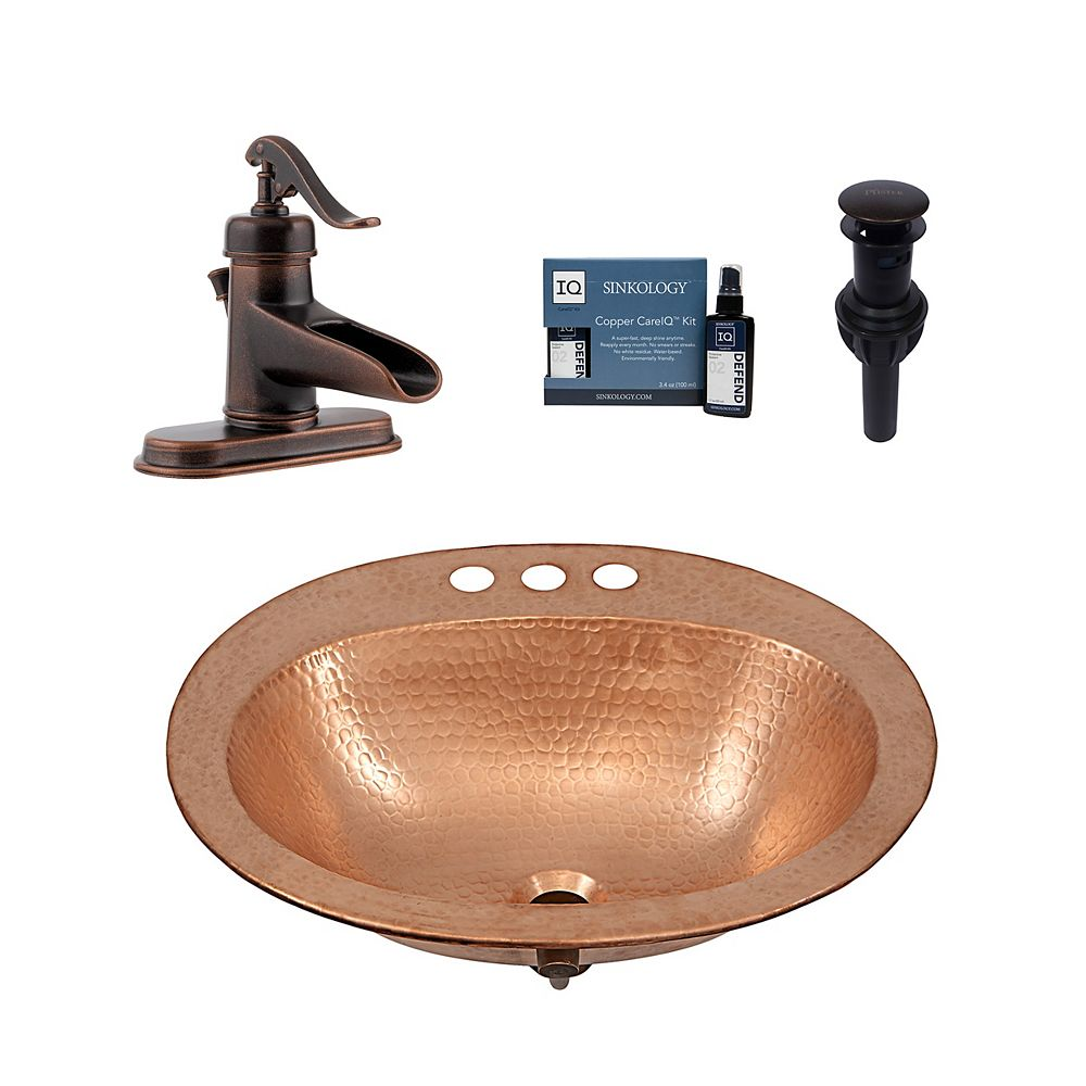 Sinkology Kelvin All-in-One Drop-In Copper Bath Sink Design Kit with Pfister Ashfield Faucet and Drain