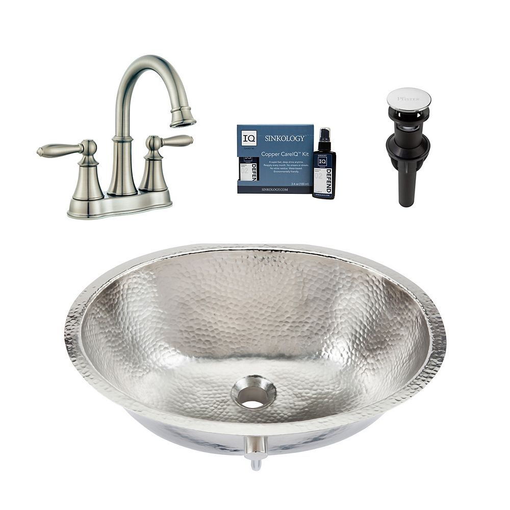 Sinkology Pavlov All-in-One Undermount Nickel Bath Sink Design Kit with Pfister Courant Faucet and Drain