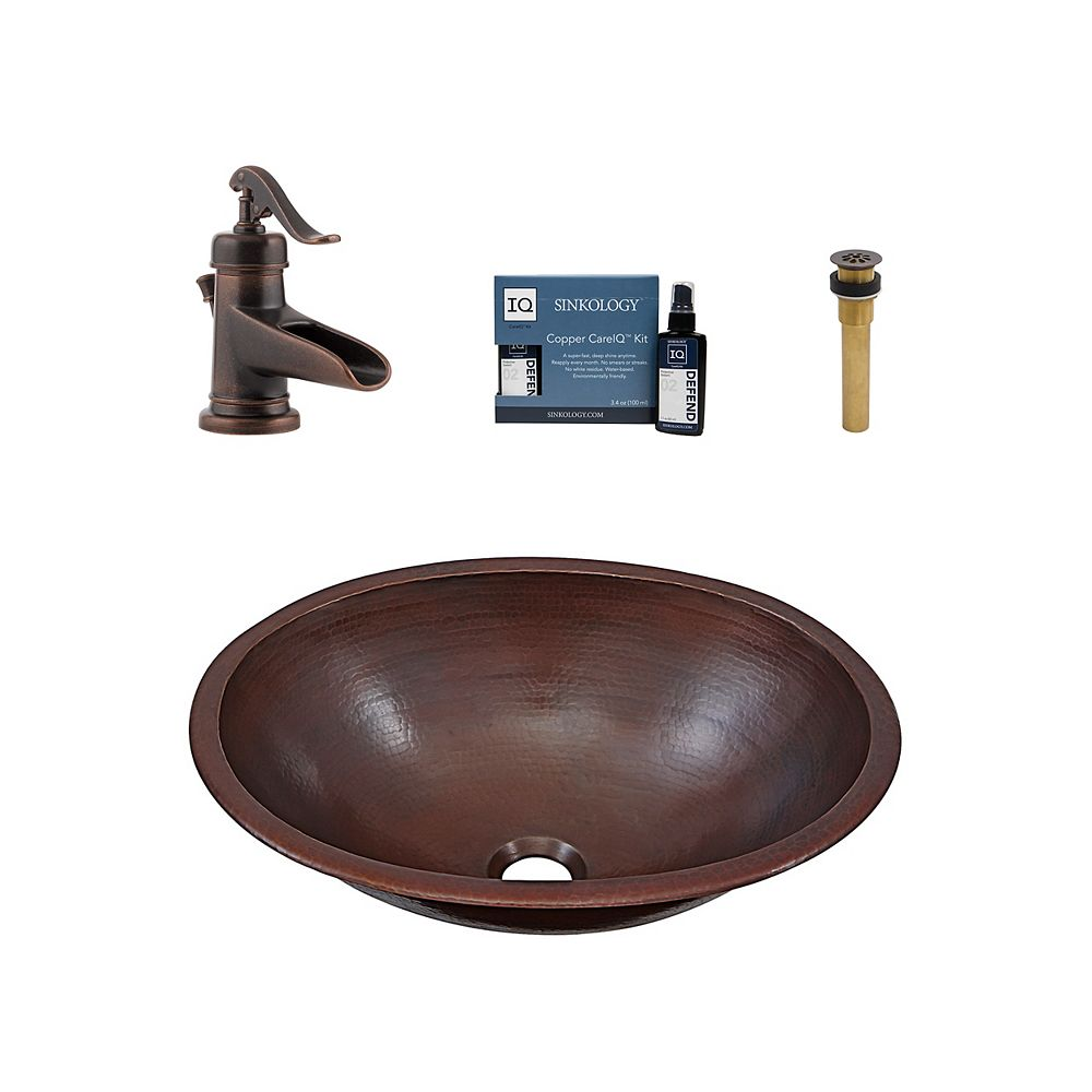 Sinkology Schrodinger All-In-One Drop-In or Undermount Copper Bath Sink Kit, Pfister Ashfield Faucet and Drain