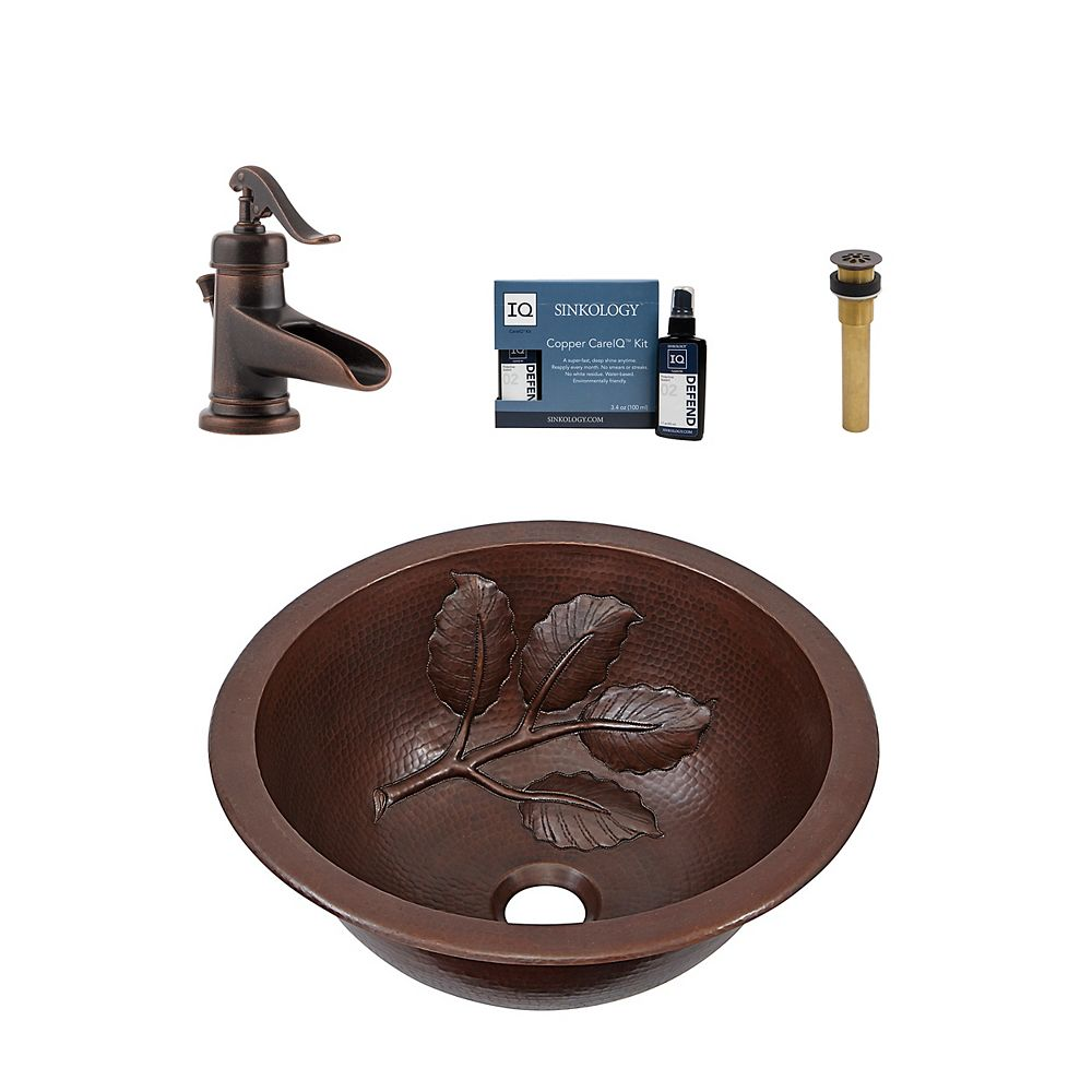 Sinkology Newton All-In-One Drop-In or Undermount Copper Bath Sink Kit with Pfister Ashfield Faucet and Drain
