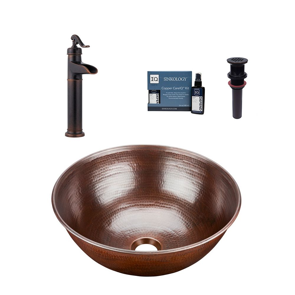 Sinkology Hubble All-In-One Vessel Copper Bath Sink Design Kit with Pfister Ashfield Faucet and Drain