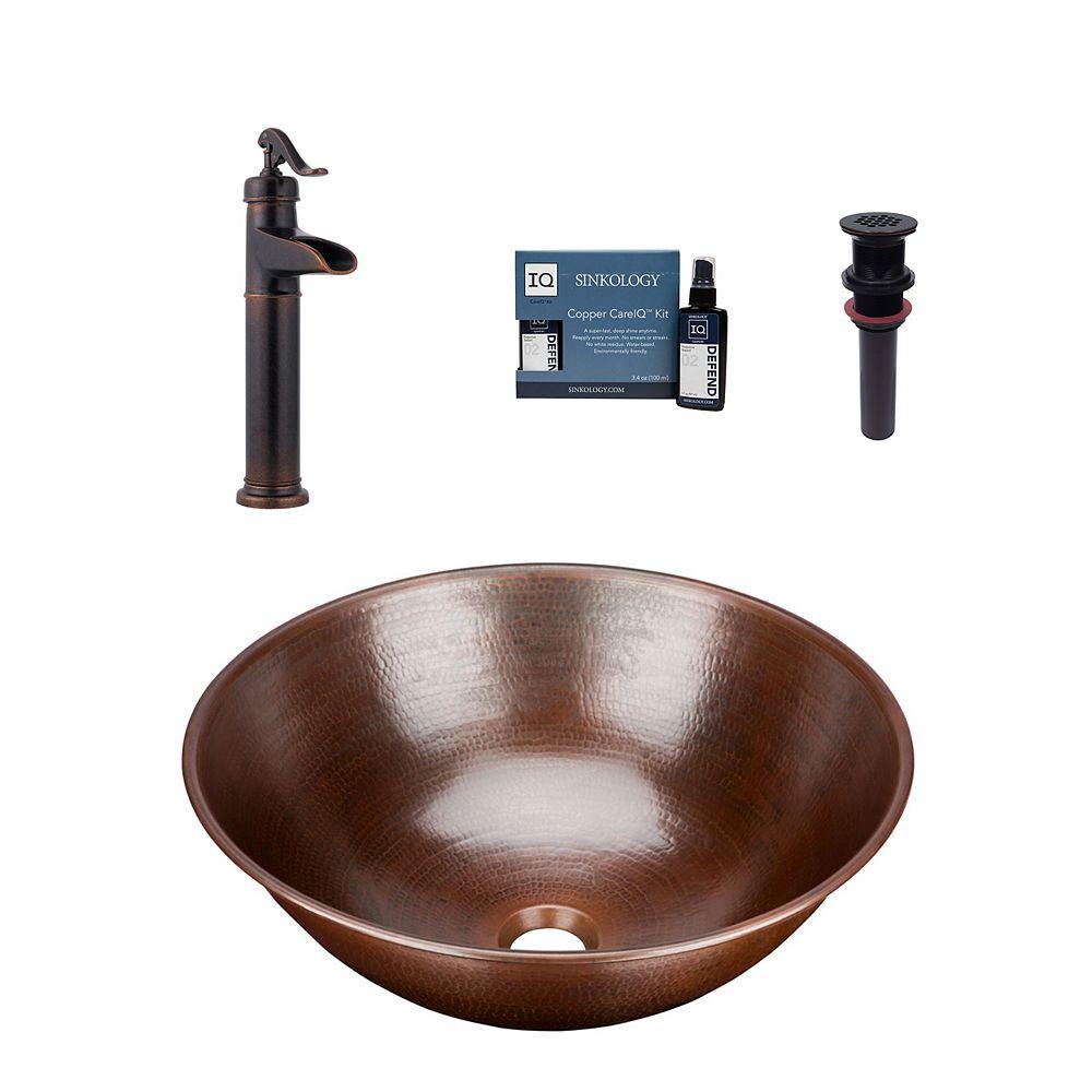 Sinkology Eddington All-In-One Vessel Copper Bath Sink Design Kit with Pfister Ashfield Faucet and Drain
