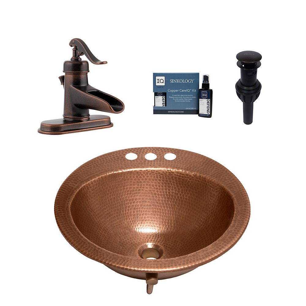Sinkology Bell All-In-One Drop-In Copper Bath Sink Design Kit with Pfister Ashfield Faucet and Drain