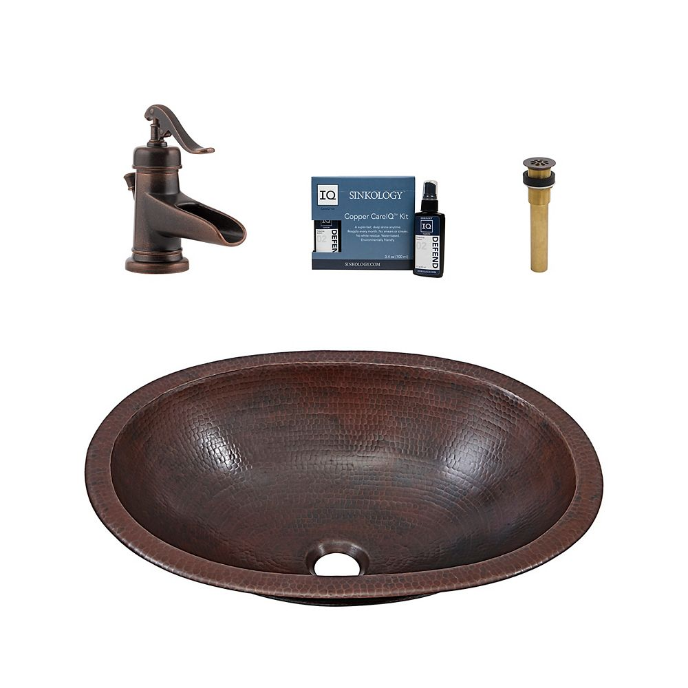 Sinkology Wallace All-In-One Drop-In or Undermount Copper Bath Sink Kit with Pfister Ashfield Faucet and Drain