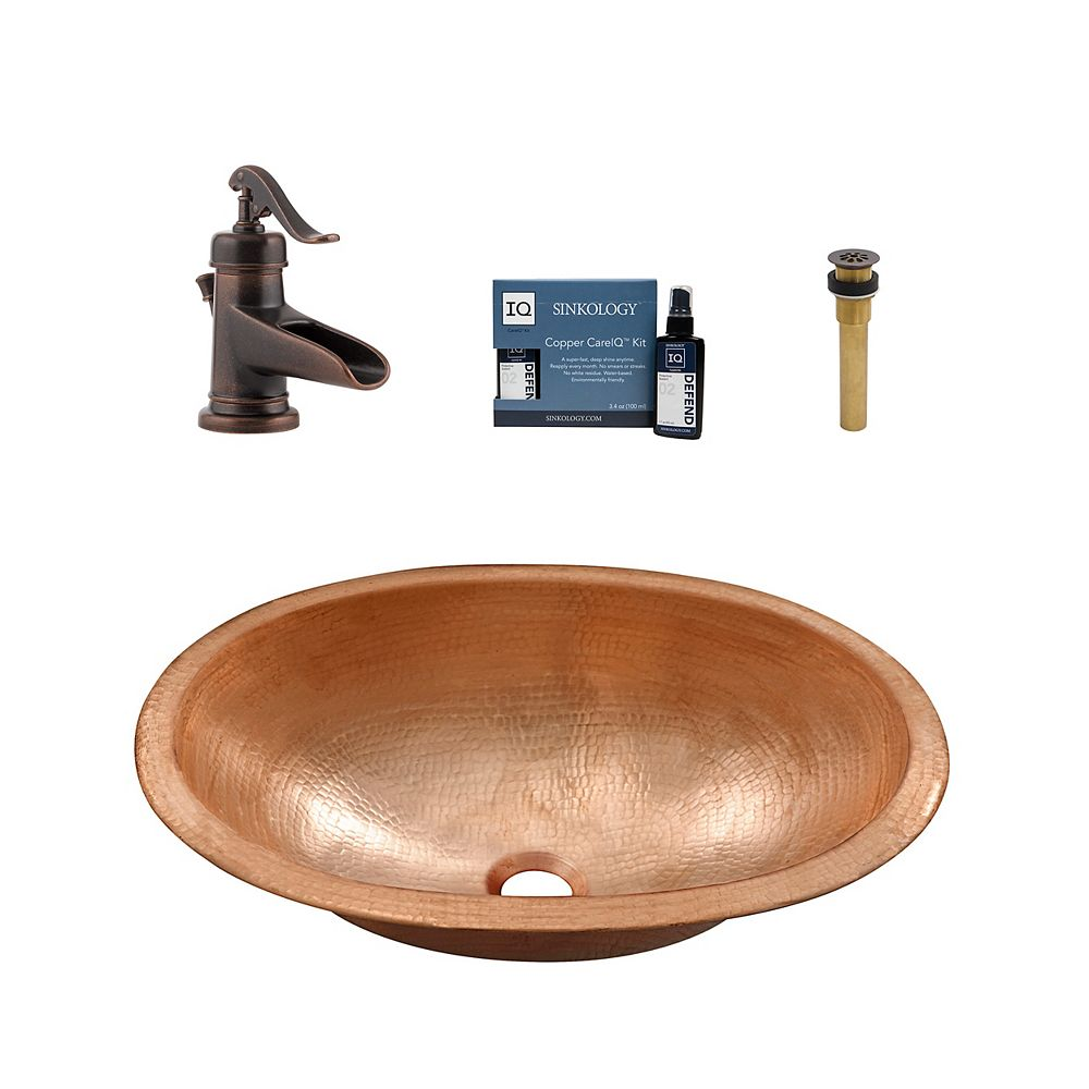 Sinkology Strauss All-in-One Drop-In or Undermount Copper Bath Sink Kit with Pfister Ashfield Faucet and Drain