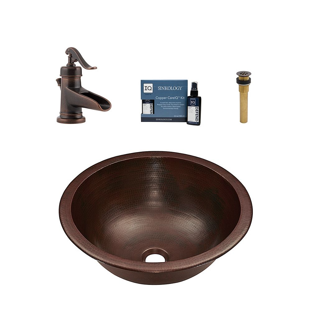 Sinkology Darwin All-In-One Drop-In or Undermount Copper Bath Sink Kit with Pfister Ashfield Faucet and Drain