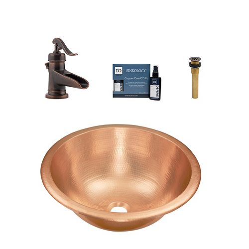 Sinkology Born All-in-One Drop-In or Undermount Bath Sink Design Kit with Pfister Ashfield Faucet and Drain