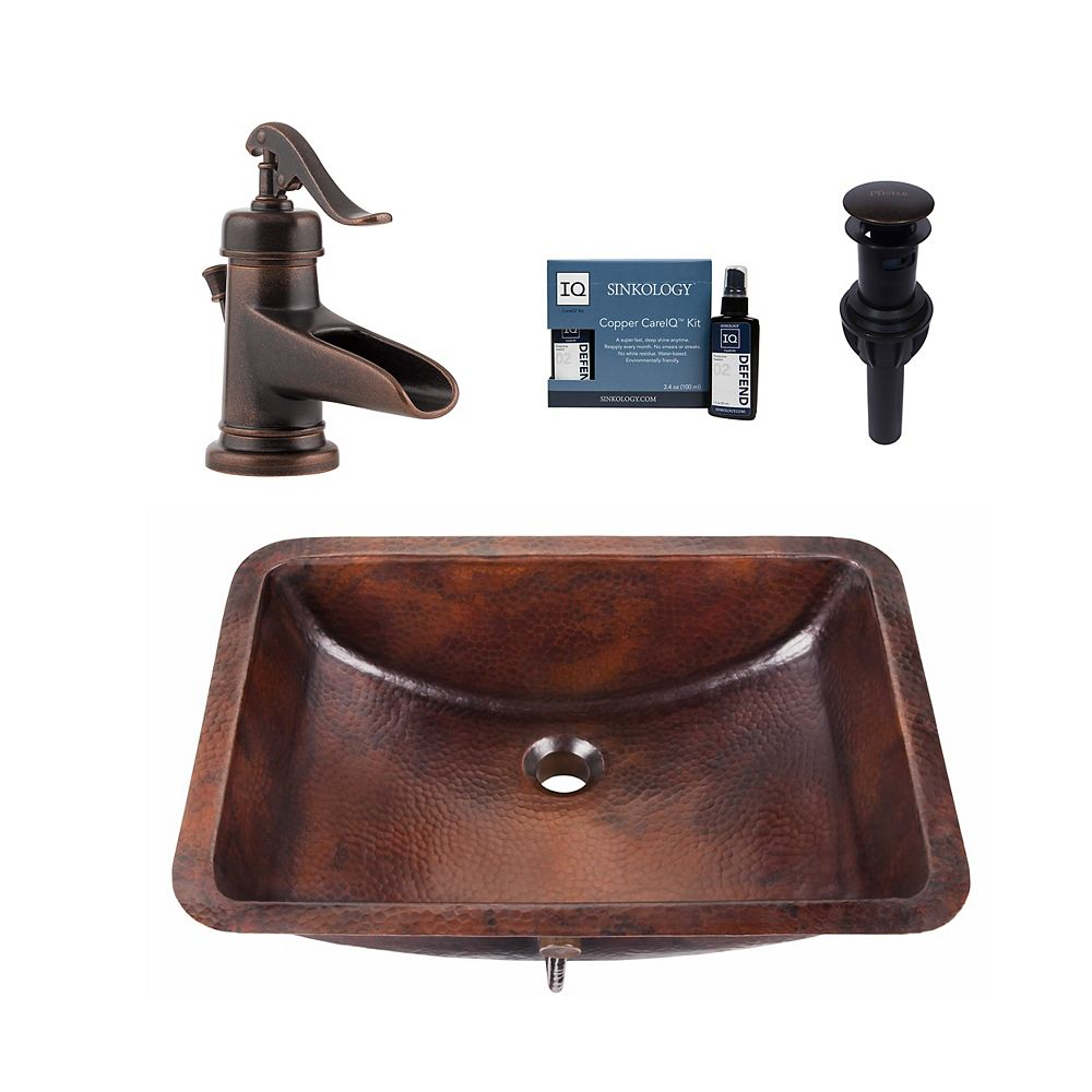 Sinkology Curie All-In-One Undermount Copper Bath Sink Design Kit with Pfister Ashfield Faucet and Drain