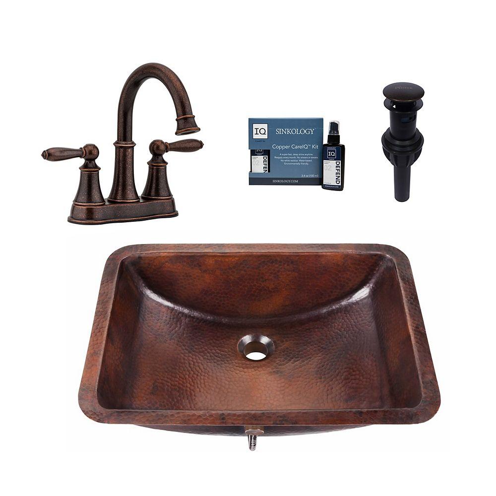 Sinkology Kit Curie, lavabo encastré tout-en-un, cuivre, robinet et bonde Pfister Courant