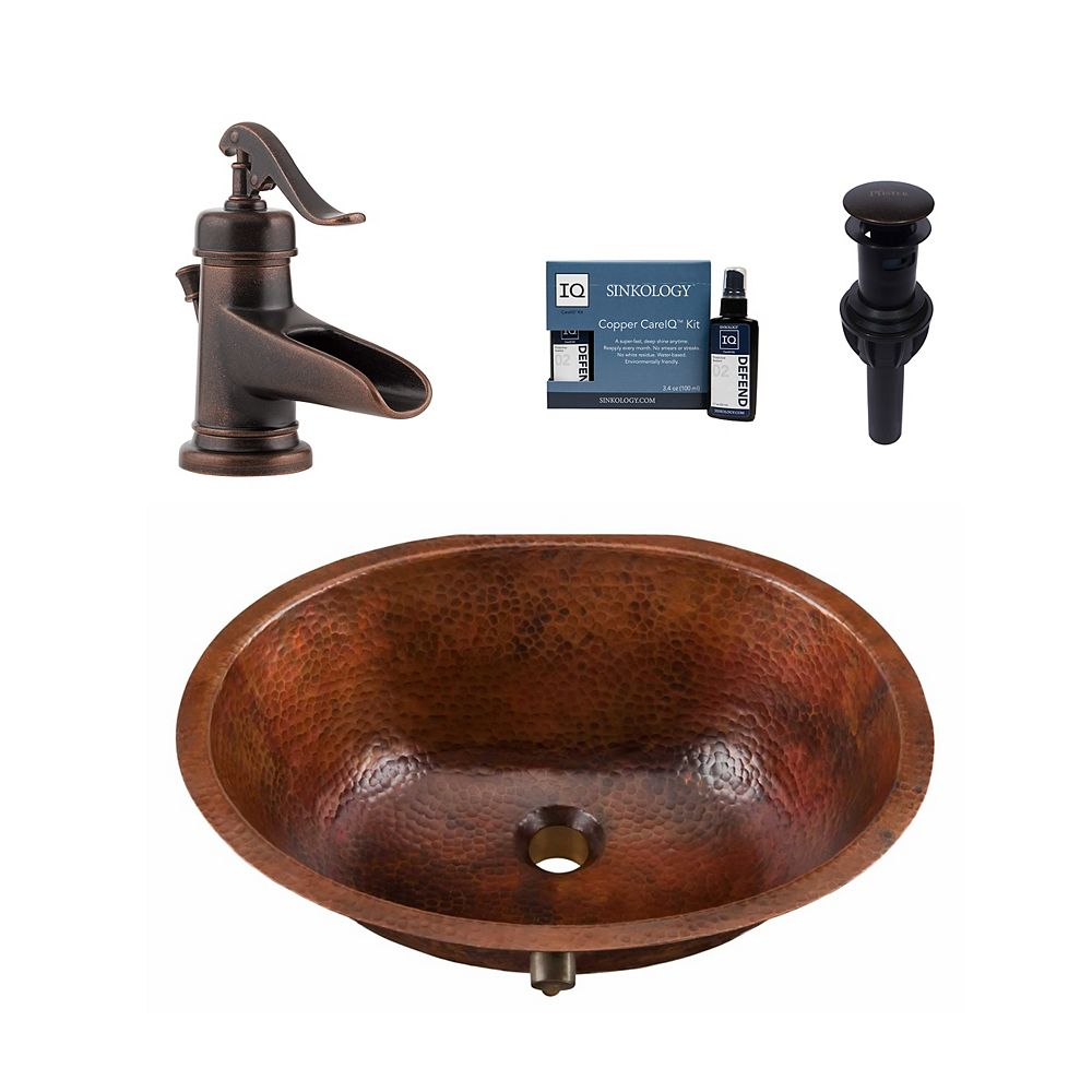 Sinkology Freud All-In-One Undermount Copper Bath Sink Design Kit with Pfister Ashfield Faucet and Drain