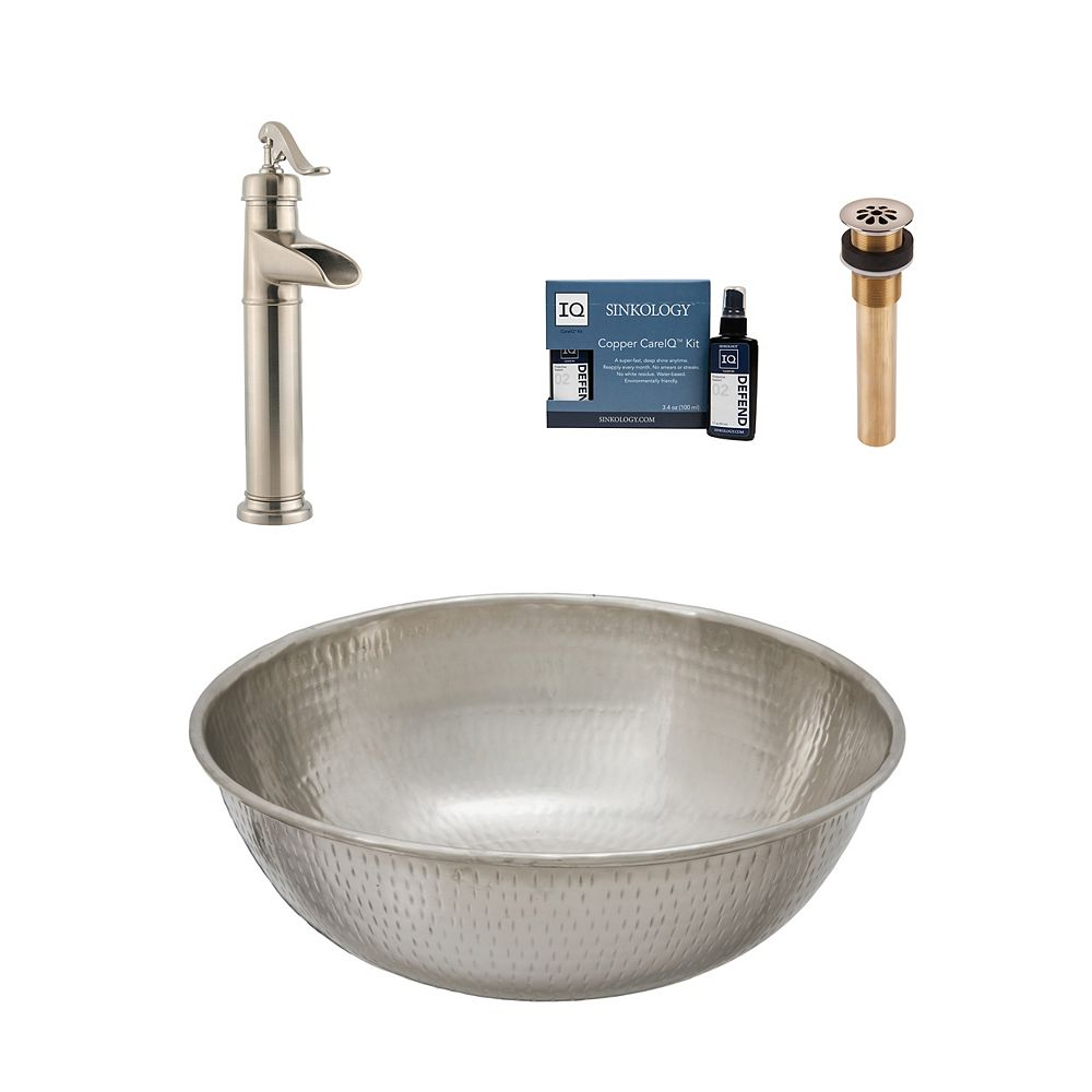 Sinkology Bohr All-In-One Vessel Nickel Bath Sink Design Kit with Pfister Faucet and Drain