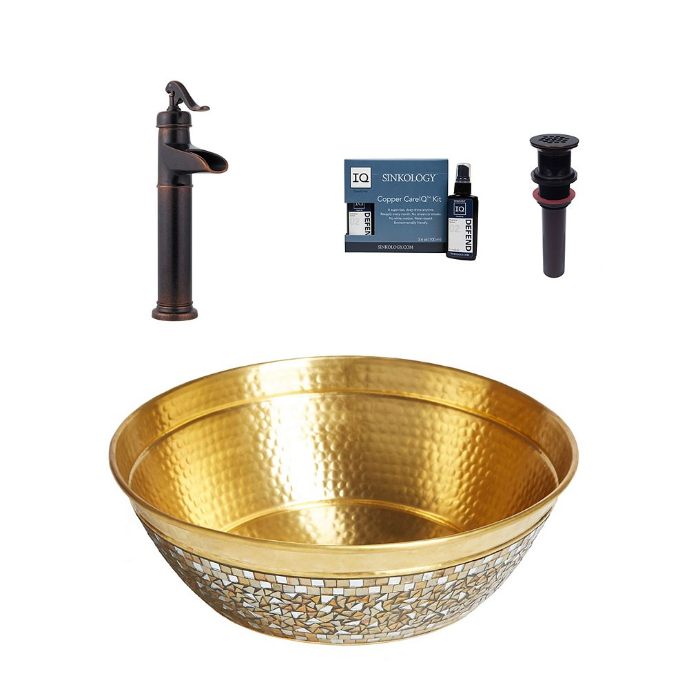 Sinkology Shockley All-In-One Brass Vessel Bath Sink Design Kit with Pfister Ashfield Faucet and Drain