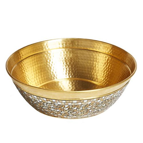 Shockley 16 in. Solid Brass Vessel Sink with Hand Applied Champagne Glass Mosaic Exterior
