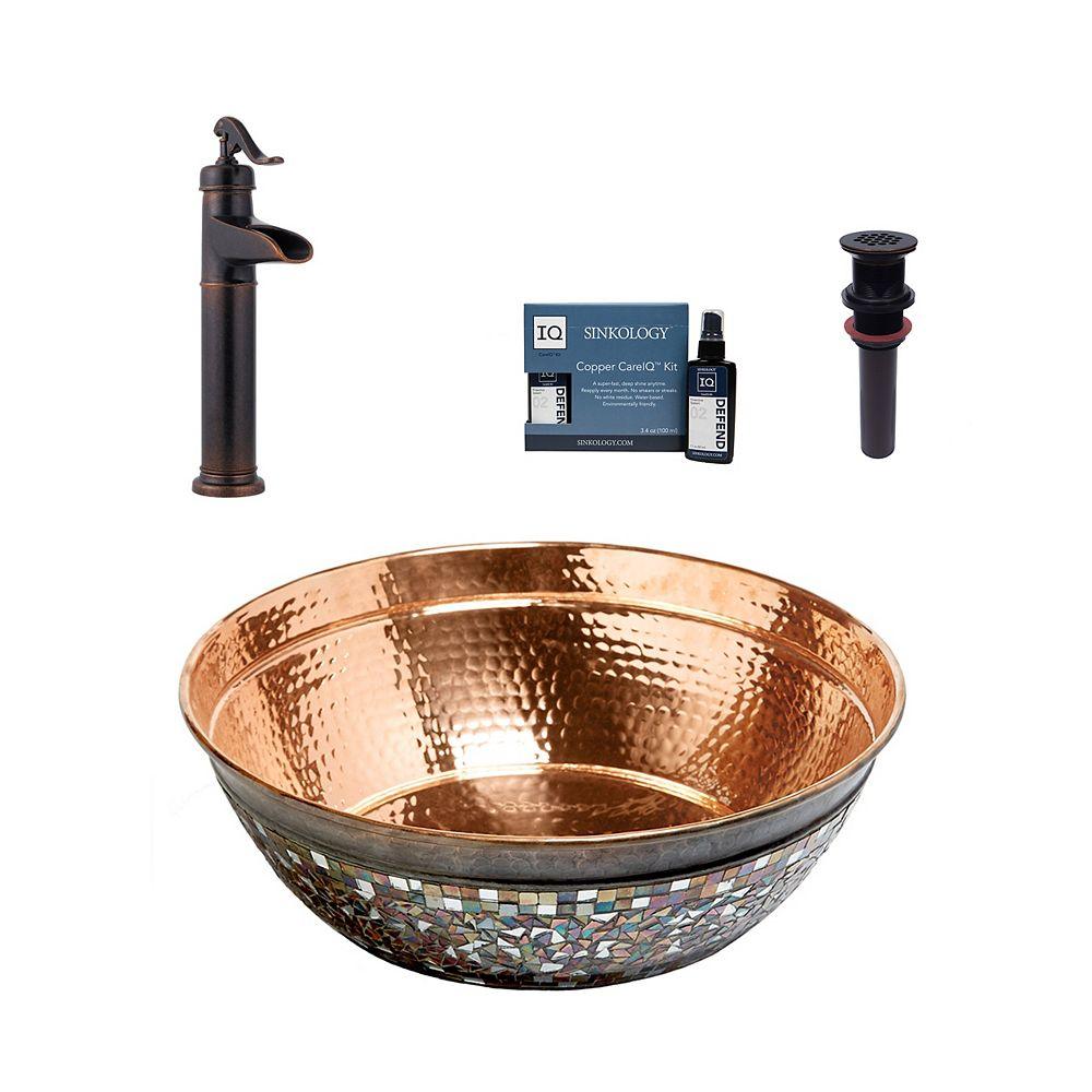 Sinkology Bardeen All-In-One Vessel Copper Bath Sink Design Kit with Pfister Ashfield Faucet and Drain