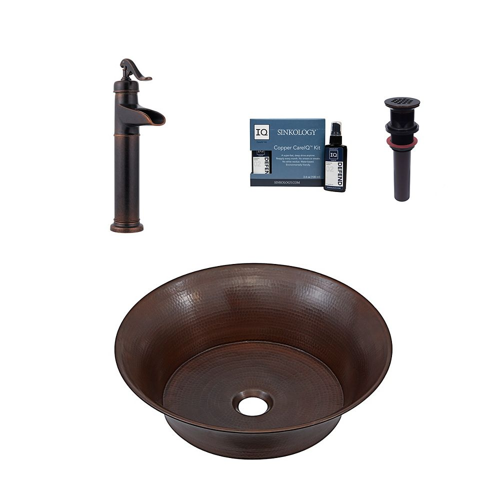 Sinkology Copernicus 16 in. All-In-One Vessel Copper Bath Sink Design Kit with Pfister Faucet and Drain