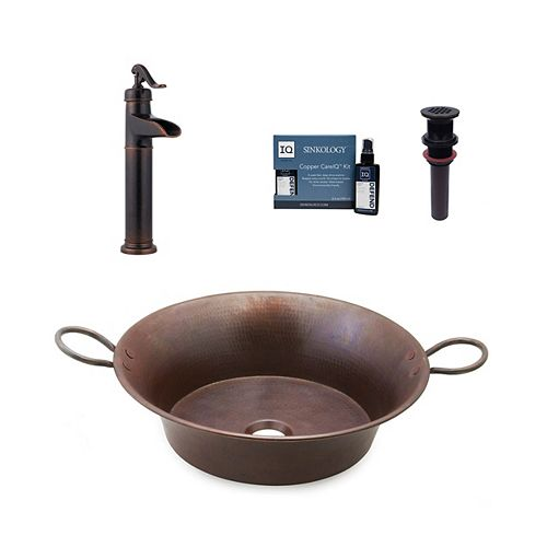 Copernicus 21 in. All-In-One Vessel Copper Bath Sink Design Kit with Pfister Faucet and Drain