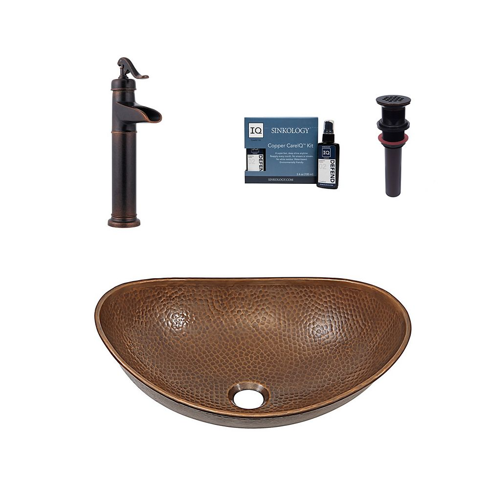Sinkology Confucius All-In-One Vessel Copper Bath Sink Design Kit with Pfister Faucet and Drain