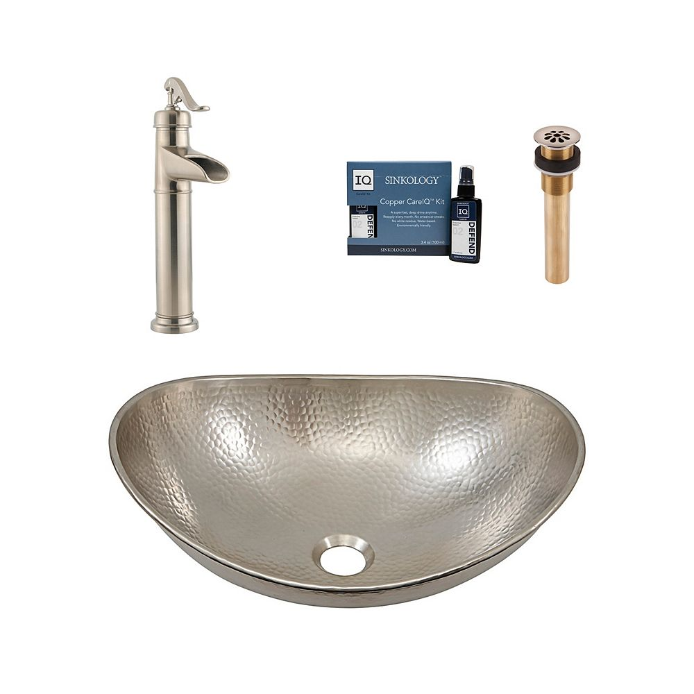 Sinkology Hobbes All-In-One Vessel Nickel Bath Sink Design Kit with Pfister Faucet and Drain
