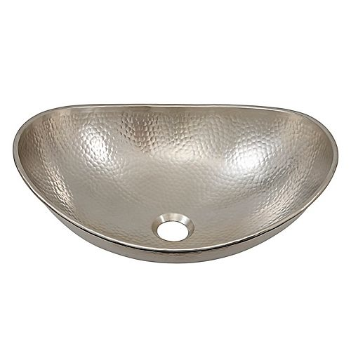Hobbes 19 in. Above-Counter Vessel Bath Sink, Handcrafted in Hammered Nickel
