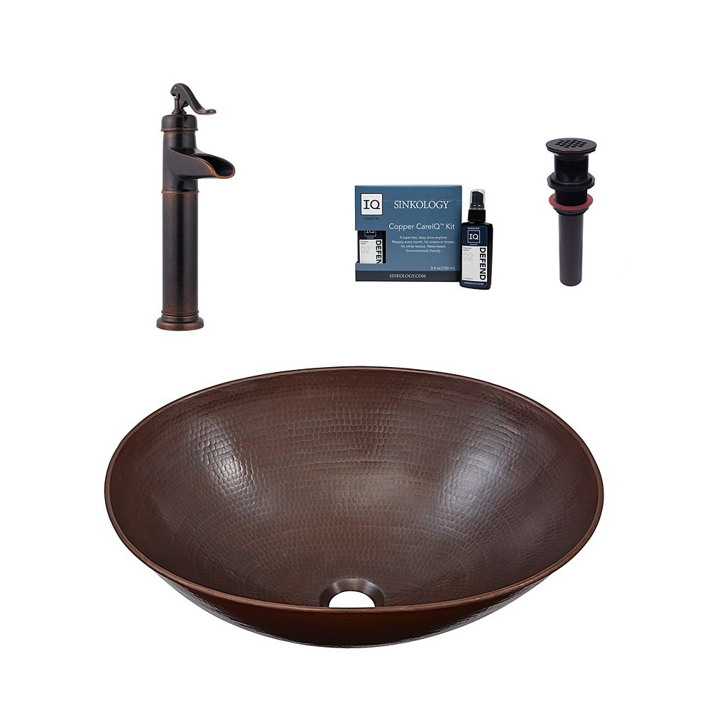 Sinkology Maxwell All-In-One Vessel Copper Bath Sink Design Kit with Pfister Faucet and Drain