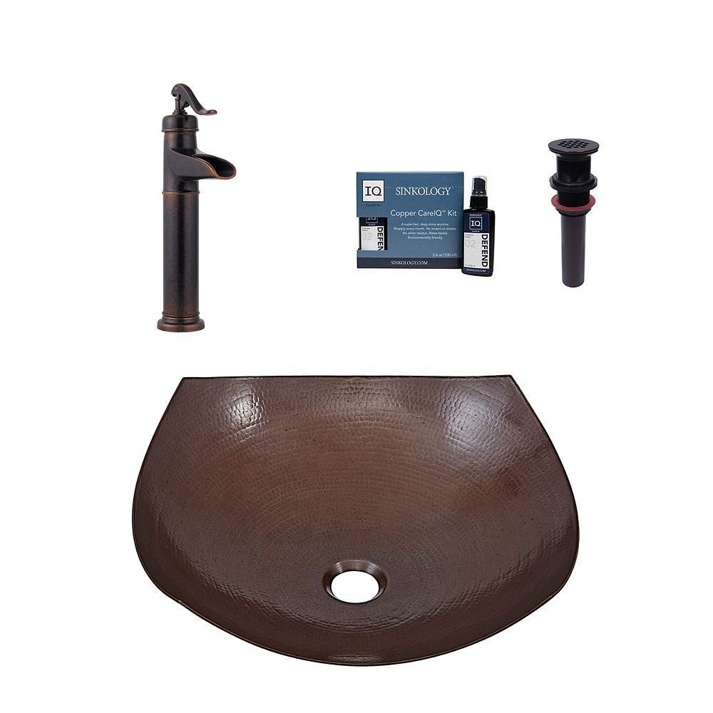 Sinkology Lovelace All-In-One Vessel Copper Bath Sink Design Kit with Pfister Faucet and Drain