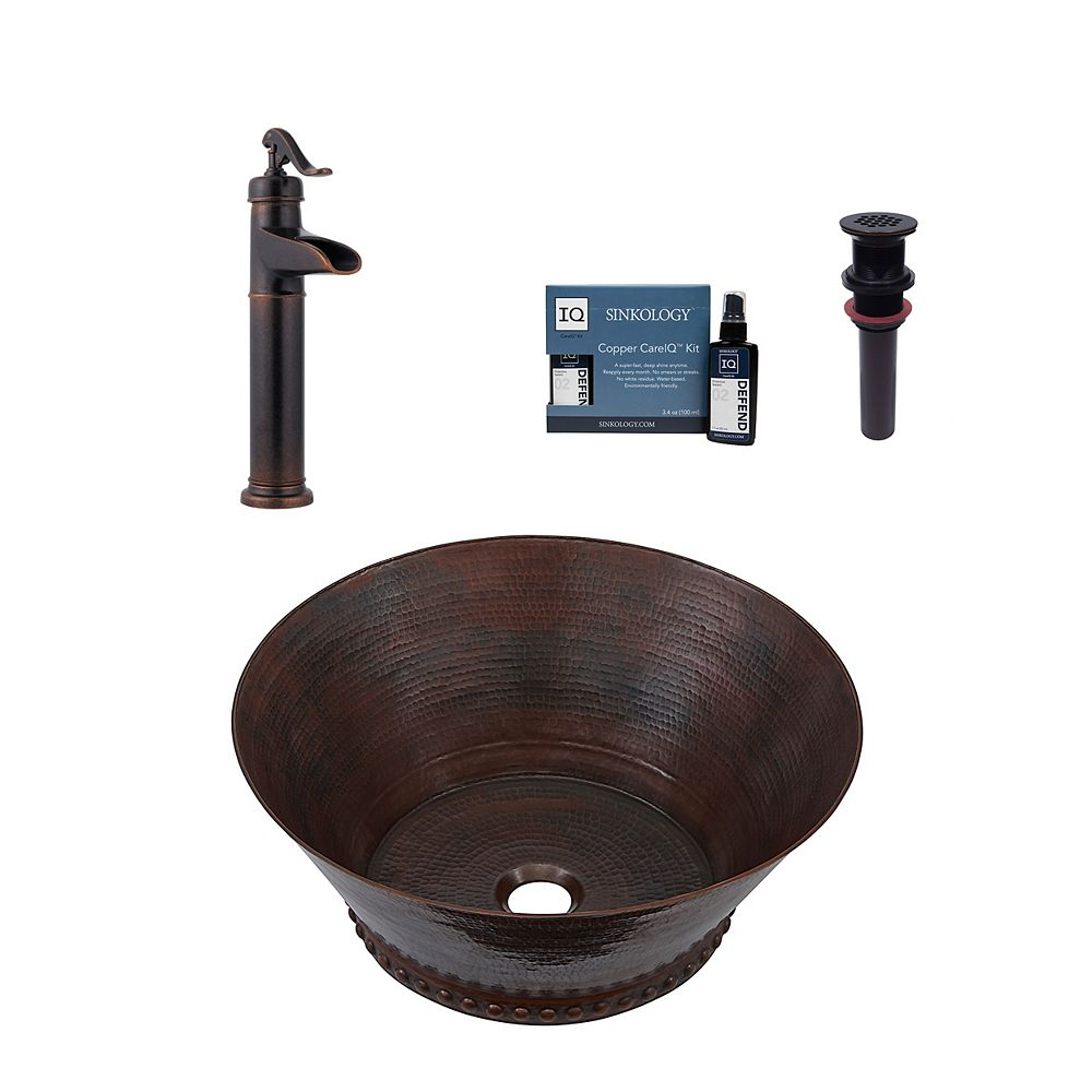 Sinkology Best All-In-One Vessel Copper Bath Sink Design Kit with Pfister Faucet and Drain