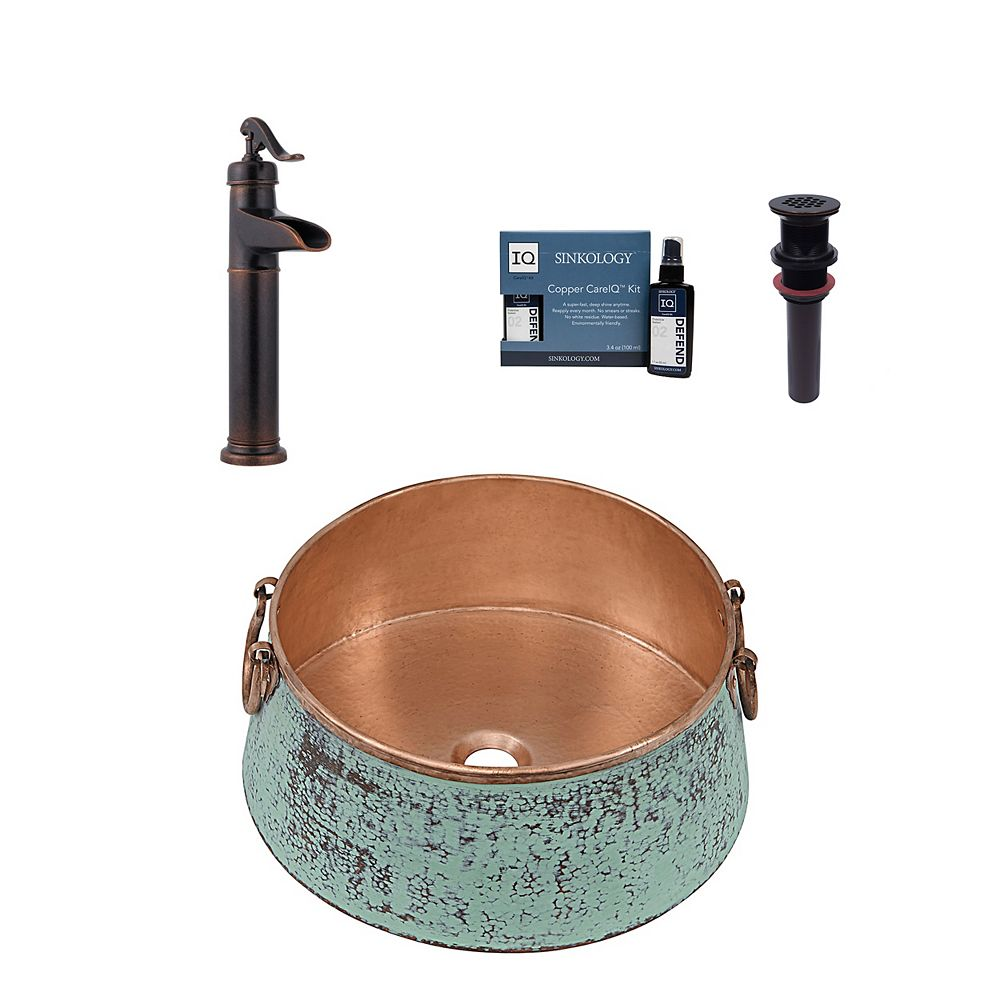 Sinkology Nobel All-in-One Vessel Copper Bath Sink Design Kit with Pfister Faucet and Drain