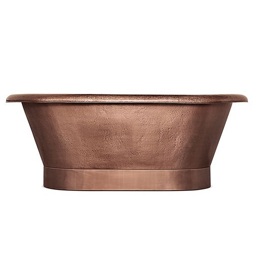 Thales 60 in. Copper Freestanding Bathtub with Overflow in Antique Copper