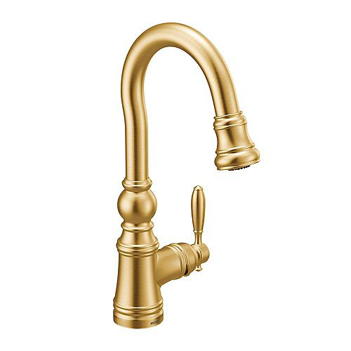 Weymouth Single-Handle pull-down Bar Faucet In Brushed Gold