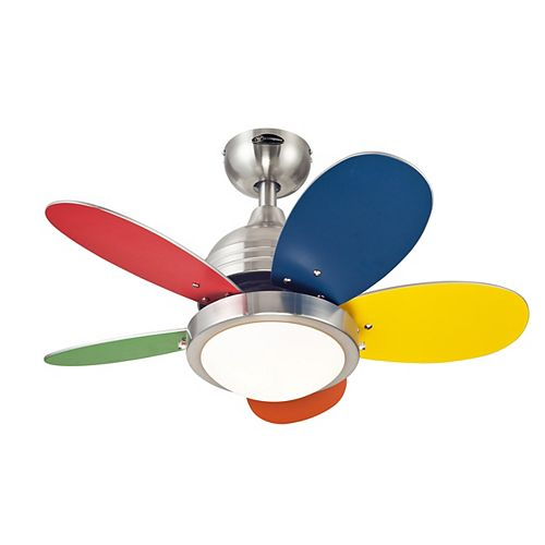 Roundabout 30-inch LED Reversible Five-blade indoor Ceiling fan in Brushed Nickel