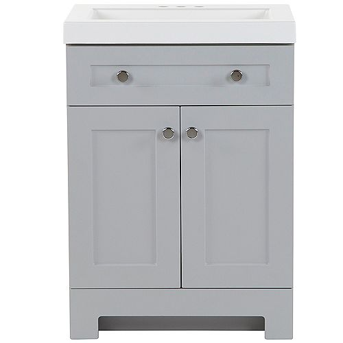 Glacier Bay Everdean 24.5 inch W x 19 inch D x 34 inch H Bath Vanity in Pearl Gray with Vanity Top in White