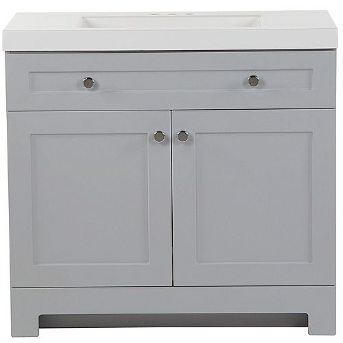 Glacier Bay Everdean 36.5-inch W x 34.4-inch H x 18.75-inch D Bathroom Vanity in Pearl Grey with Cultured Marble Countertop/Rectangular Sink