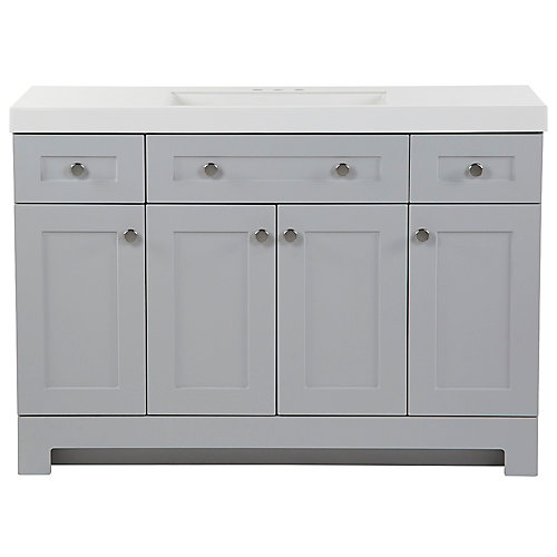 Everdean 48.5 inch W x 18.75 inch D Vanity in Pearl Gray with Vanity Top in White