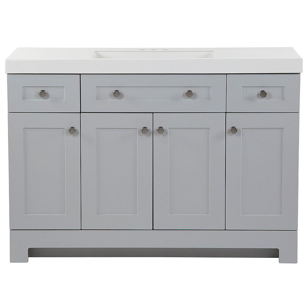 Glacier Bay Everdean 48.5-inch W x 18.75- inch D Vanity in Pearl Grey with Vanity Top in White