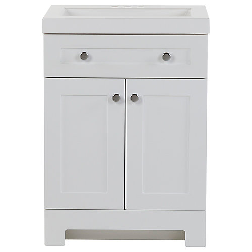 Everdean 24.5 inch W x 19 inch D x 34 inch H Bath Vanity in White with Vanity Top in White