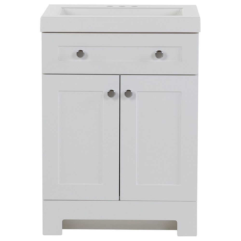 Glacier Bay Everdean 24.5-inch W x 34.4-inch H x 18.75-inch D Bathroom Vanity in White with Cultured Marble Countertop/Rectangular Sink