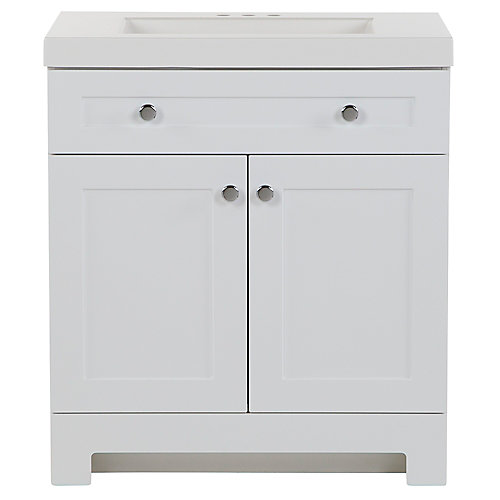 Everdean 30.5 inch W x 19 inch D x 34 inch H Bath Vanity in White with Vanity Top in White